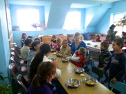This photo was taken during the first children's program. Every Friday the kids are served a meal of soup and bread.